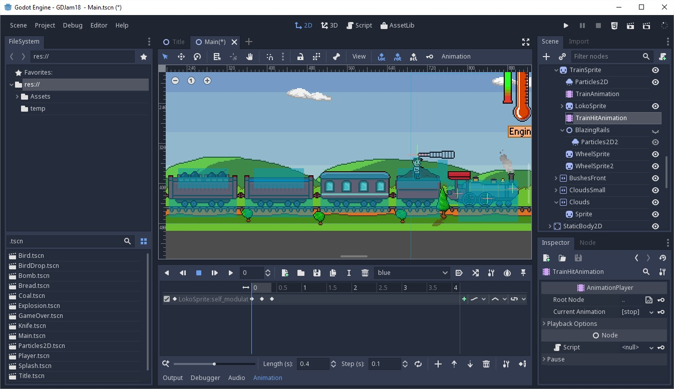 godot editor opened in the gameJam 18 at itch.io